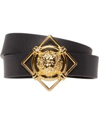 Versus - Black & Gold Leather Lion Medallion Bracelet - Lyst