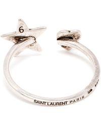 Saint Laurent Sterling Silver Horseshoe Ring - Lyst