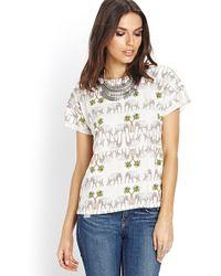 Love 21 Safari Knit Top - Lyst