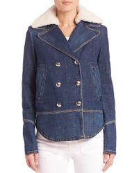 Sonia by Sonia Rykiel | Denim Faux Shearling-collar Jacket | Lyst