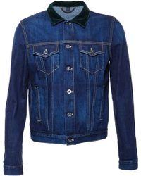 Burberry Prorsum Velvet Collar Denim Jacket blue - Lyst