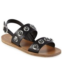 Prada | Jeweled Leather Flat Sandals | Lyst