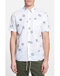 Vans 'Carnelian' Trim Fit Short Sleeve Reverse Print Shirt white - Lyst
