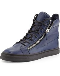 Giuseppe Zanotti Mens Double Zip High Top Sneaker - Lyst