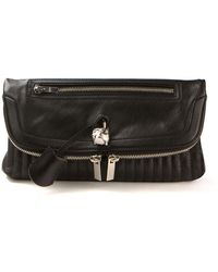 Alexander McQueen Black Folded Leather Clutch - Lyst
