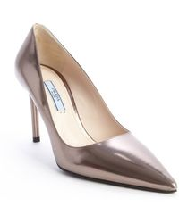 Prada Stone Metallic Leather Pointed Toe Pumps - Lyst