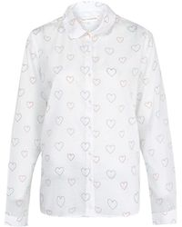 Chinti And Parker Heart Print Peter Pan Shirt - Lyst
