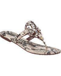 Tory Burch Miller Thong Sandal Natural Snake - Lyst