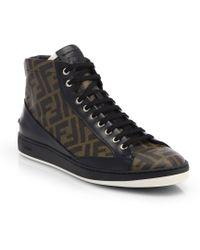 Fendi Zucca Print High-Top Sneakers - Lyst