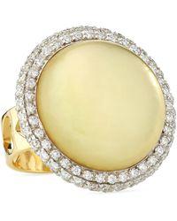 Roberto Coin Lemon Quartz & Diamond Ring - Lyst
