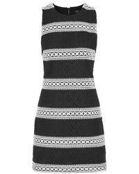 Topshop Striped Lace Shift Dress - Lyst