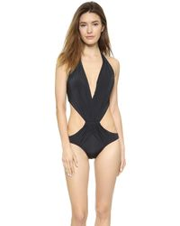 Vix Solid Black One Piece Swimsuit - Solid Black - Lyst