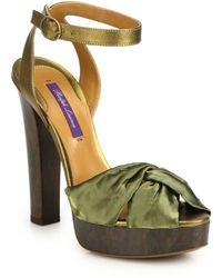 Ralph Lauren Collection Valletta Metallic Leather & Silk Platform Sandals green - Lyst