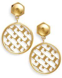 Tory Burch 'T' Open Drop Earrings - Shiny Gold gold - Lyst