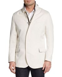 Giorgio Armani Twill-Collar Linen Jacket - Lyst