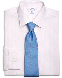 Brooks Brothers Noniron Regular Fit Alternate Sidewheeler Stripe Dress Shirt - Lyst