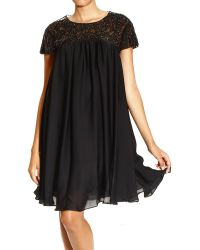 John Richmond Dress Short Sleeves in Silk with Embrodery - Lyst