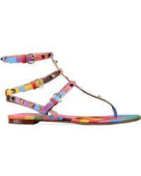 "Valentino Sandals Flip Flops ""Rockstud"" Print Multicolor multicolor - Lyst"