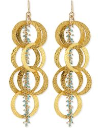 Devon Leigh - Beaded 18K Yellow Gold Plated Linked Circle Drop Earrings - Lyst