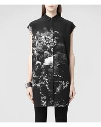 AllSaints Giovia Flora Shirt Dress - Lyst