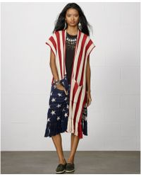 Denim & Supply Ralph Lauren Oversize Fringed Americanflag Cardigan - Lyst