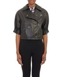 Thakoon Addition Shortsleeve Leather Moto Jacket - Lyst