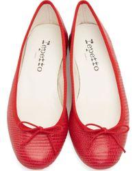 Repetto Red Leather Tejus Cendrillon Ballerina Flats - Lyst