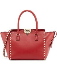 Valentino Small Rockstud Doublehandle Tote Bag - Lyst