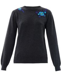 Christopher Kane Floral Embroidered Cashmere Sweater gray - Lyst
