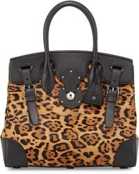 Ralph Lauren Soft Ricky 33 Leopardprint Calf Hair Satchel Bag - Lyst