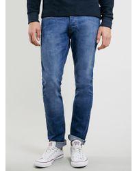 Topman Bright 70s Wash Stretch Slim Jeans - Lyst