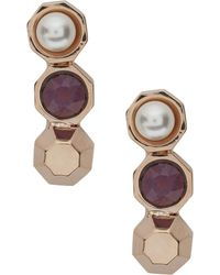 MFP MariaFrancescaPepe - 23Kt Rose Gold Plated Swarovski Earrings - Lyst