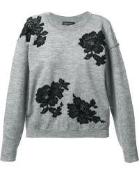 Lanvin Lace Detail Sweater - Lyst