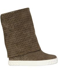 Casadei 90mm Perforated Suede Wedge Boots - Lyst
