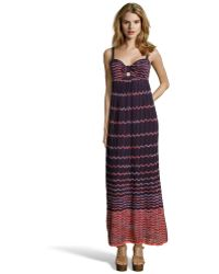 M Missoni Purple And Orange Ombre Wave Print Pleated Maxi Dress - Lyst