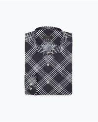 Zara Diagonal Check Shirt blue - Lyst