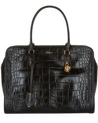 Alexander McQueen Crocodile Padlock Zip-Around Bag - Lyst
