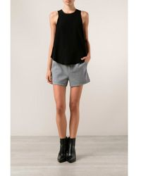 T By Alexander Wang Leather Trim Crepe Top - Lyst
