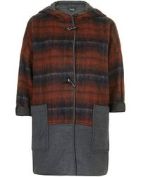 Topshop Checked Bonded Wool Jacket - Lyst