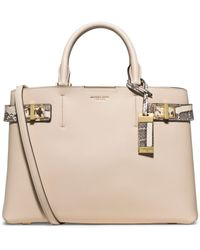 Michael Kors Bette Large Leather And Python Satchel - Lyst