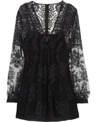 Burberry Prorsum - Floral-Embroidered Tulle Top - Lyst