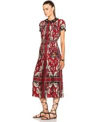 Valentino Short Sleeve Plisse Printed Dress red - Lyst