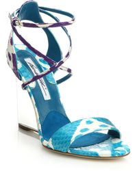 Brian Atwood Ikat Lucite-Wedge Snakeskin Sandals - Lyst