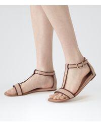 Reiss Norma T-Bar Flat Sandals - Lyst