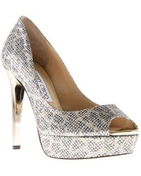 Jimmy Choo Beige Crown Pumps - Lyst