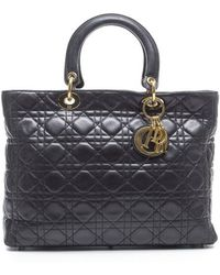 Dior Preowned Black Lambskin Large Lady Dior Large Tote Bag - Lyst
