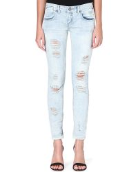 Free People Destroyed Skinny Low Rise Jeans  - Lyst
