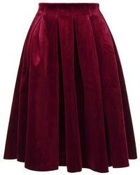 Maje | Janice Pleated Velvet Skirt | Lyst