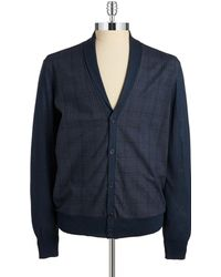 John Varvatos Plaid Cardigan - Lyst