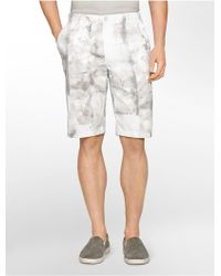 Calvin Klein White Label Slim Fit Slate Print Cotton Shorts - Lyst